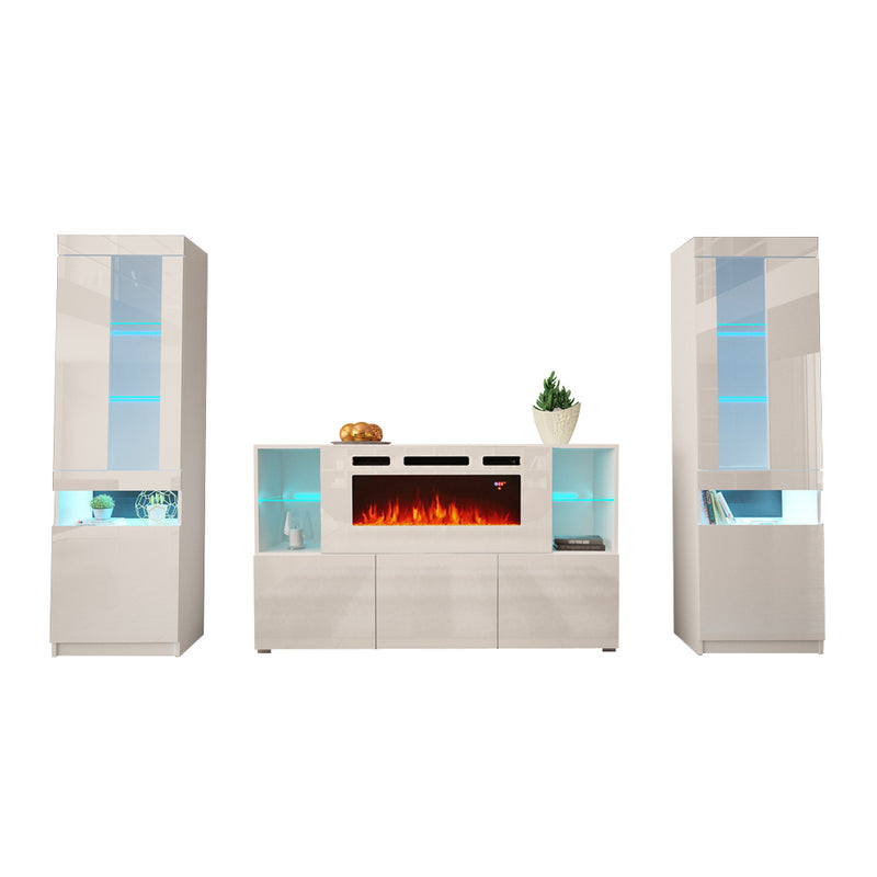 Komi WH03 Electric Fireplace Modern Wall Unit Entertainment Center