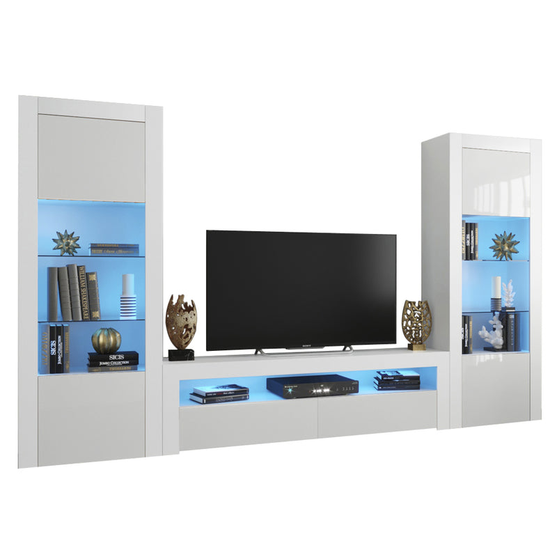 Milano Set CLA-BK-BK Modern Wall Unit Entertainment Center