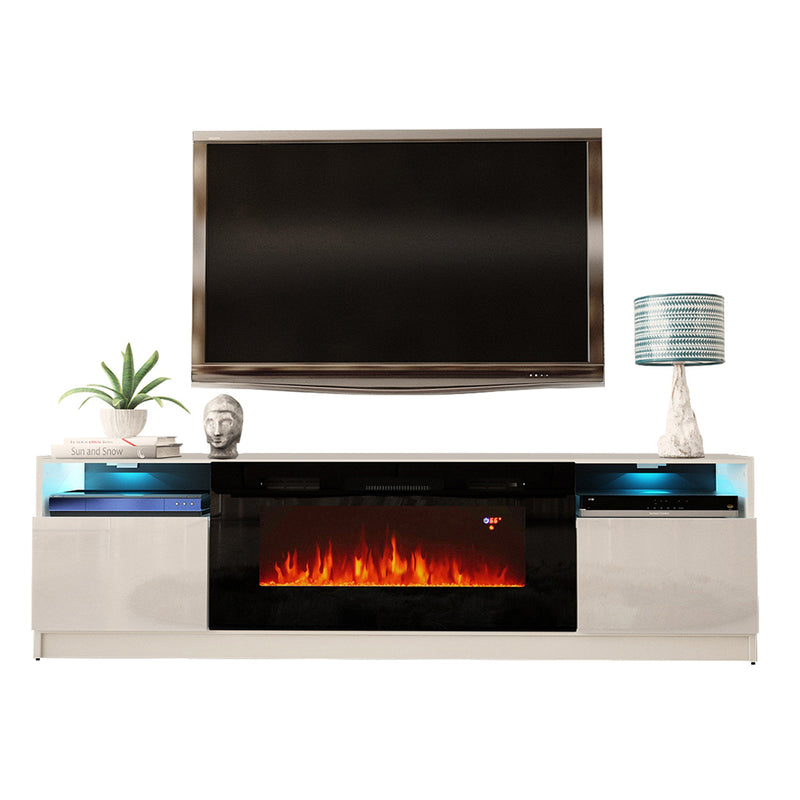 "York 02 Electric Fireplace Modern 79"" TV Stand - Meble Furniture & Rugs"