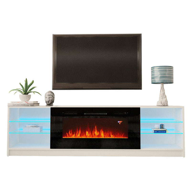 "Boston 01 Electric Fireplace Modern 79"" TV Stand - Meble Furniture & Rugs"