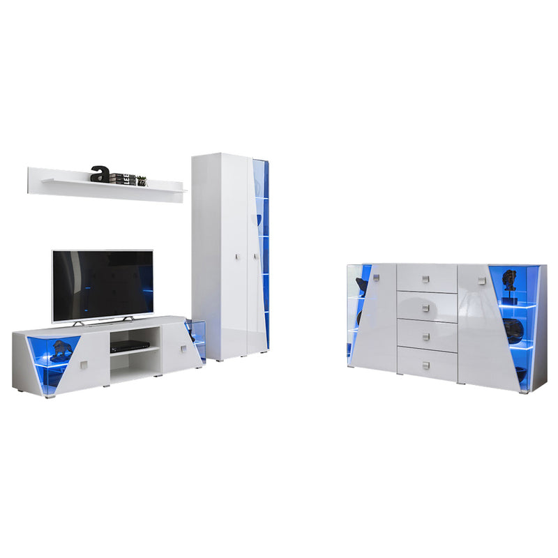 Edge Set TV-BK-SB-SH Modern Wall Unit Entertainment Center - Meble Furniture