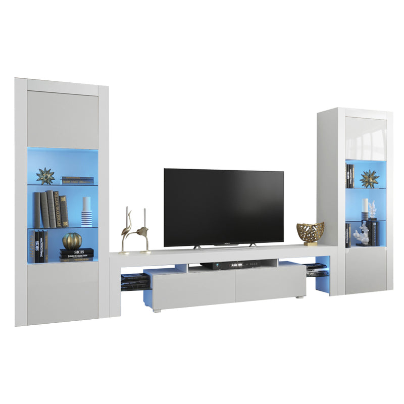 Milano Set 200-BK-BK Modern Wall Unit Entertainment Center