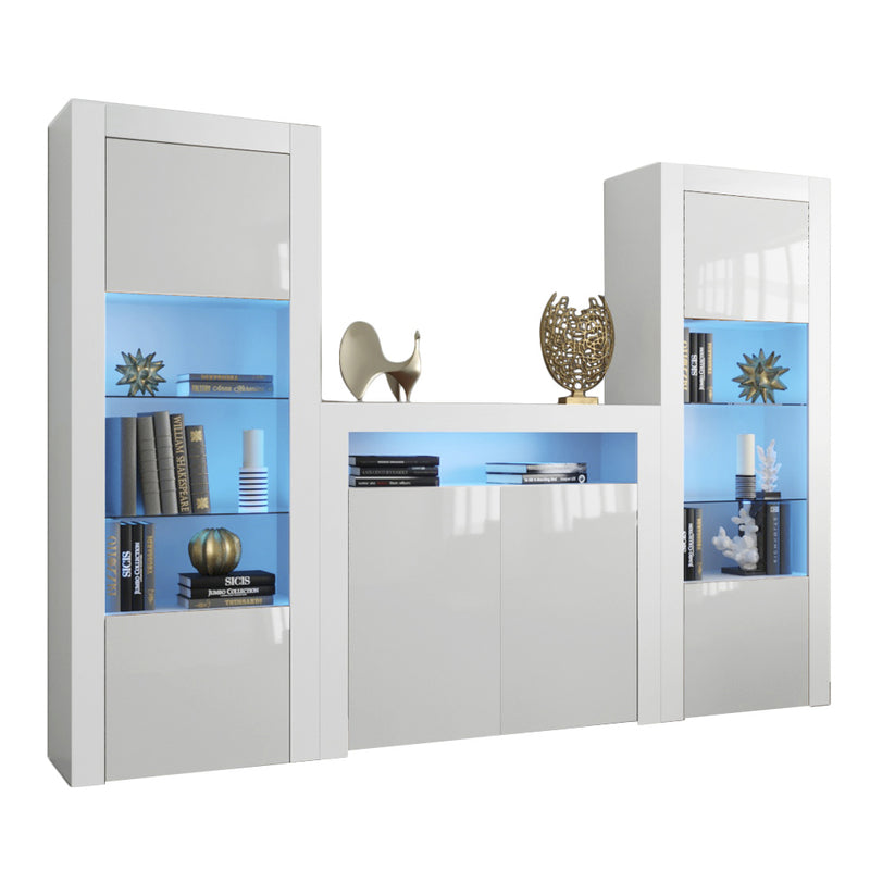 Milano Set 2D-BK-BK Modern Wall Unit Entertainment Center