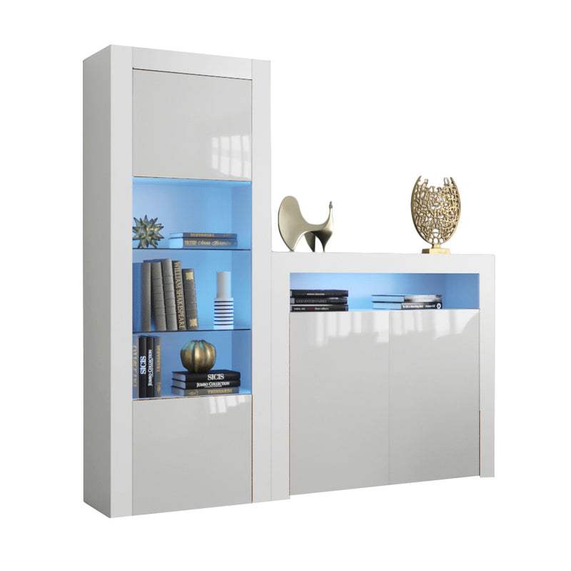 Milano Set 2D-BK Modern Wall Unit Entertainment Center