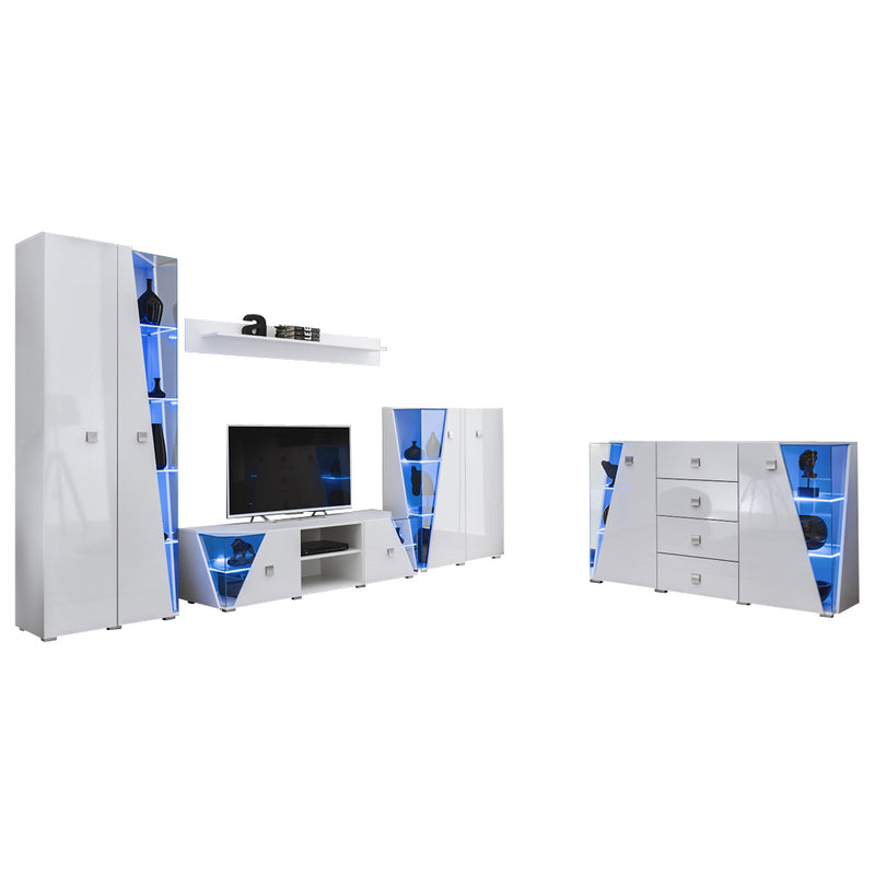 Edge Set TV-BK-CUR-SB-SH Modern Wall Unit Entertainment Center - Meble Furniture