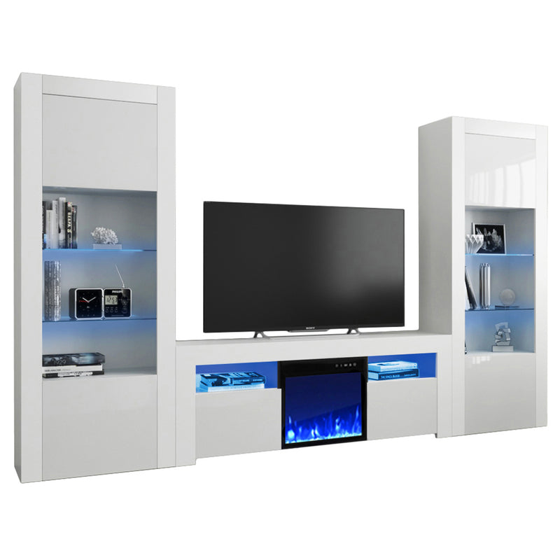 Milano Set 145EF-BK-BK Electric Fireplace Modern Wall Unit Entertainment Center - Meble Furniture