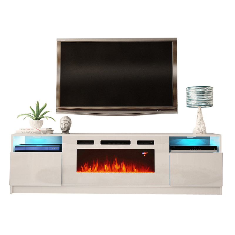 "York WH02 Electric Fireplace Modern 79"" TV Stand - Meble Furniture"