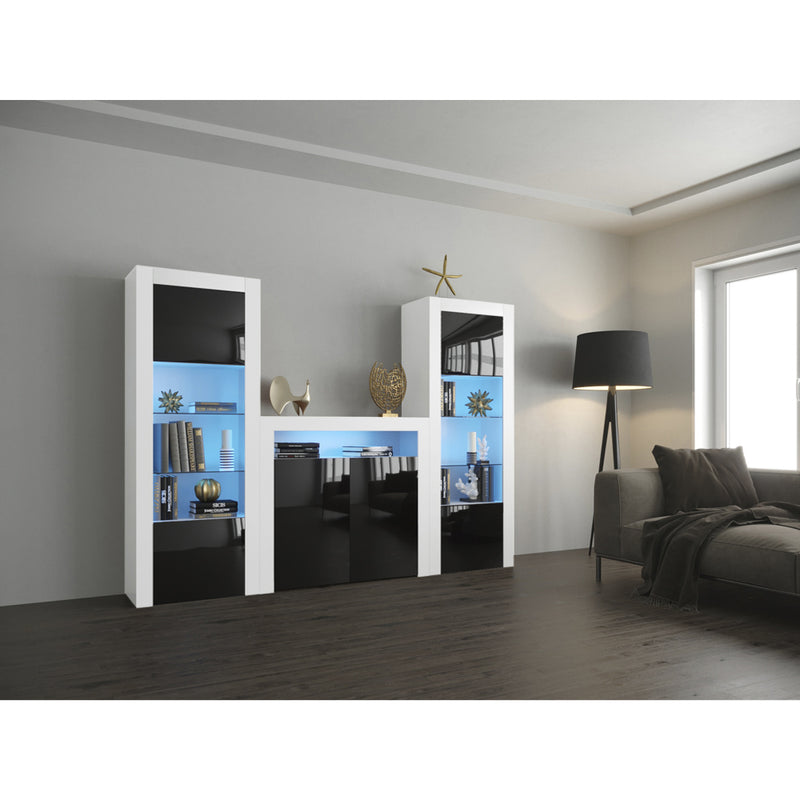 Milano Set 2D-BK-BK Modern Wall Unit Entertainment Center - Meble Furniture & Rugs