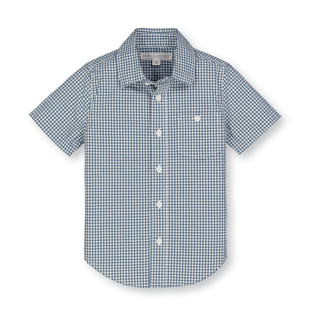 Stretch Poplin Short Sleeve Button Down Shirt - Hope & Henry Boy