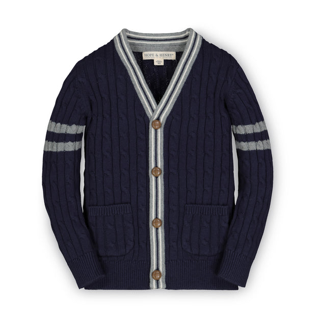 Cable Cardigan Sweater with Stripes