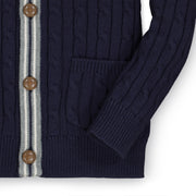 Cable Cardigan Sweater with Stripes - Hope & Henry Boy
