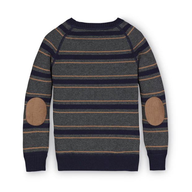 Crewneck Pullover Sweater with Elbow Patches