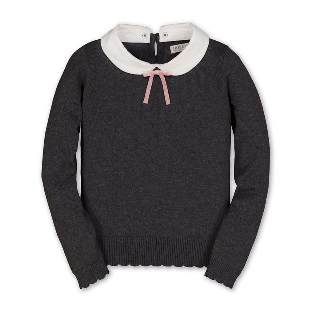 French Look Sweater with Collar and Bow
