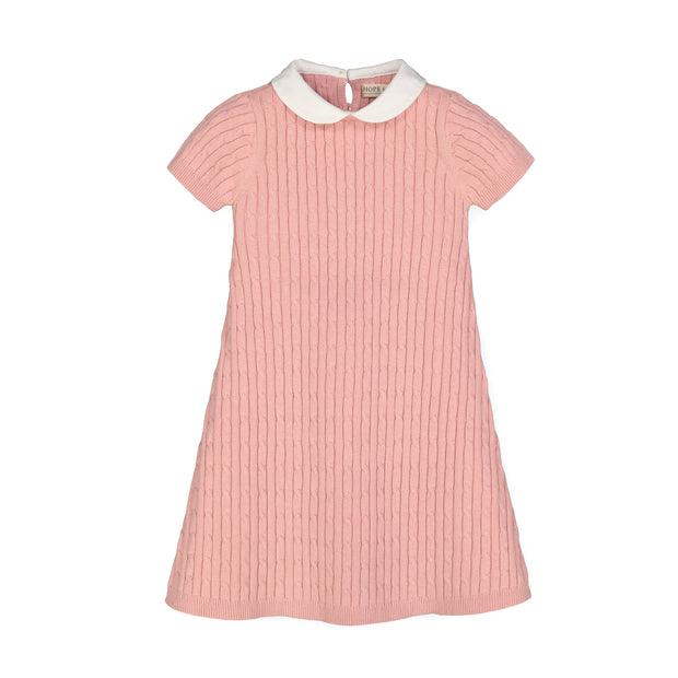 Short Sleeve Cable Dress with Collar - Hope & Henry Girl