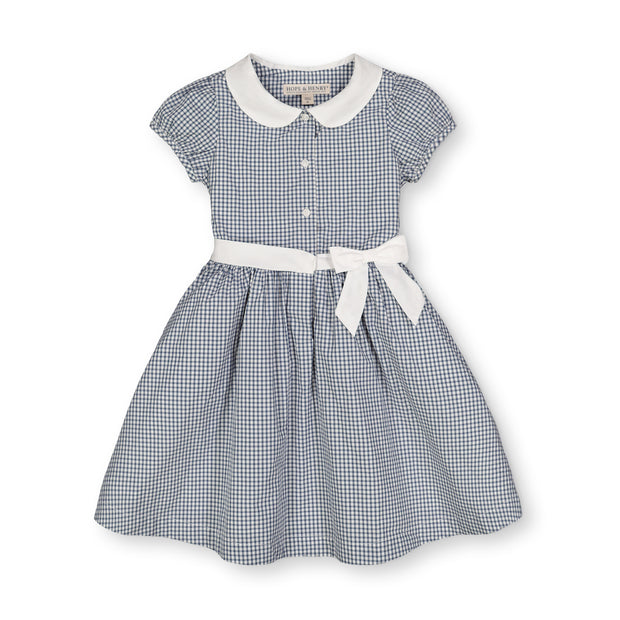 Button Front Dress with Collar and Sash