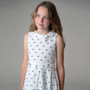 Pleated Dress with Collar and Bow - Hope & Henry Girl