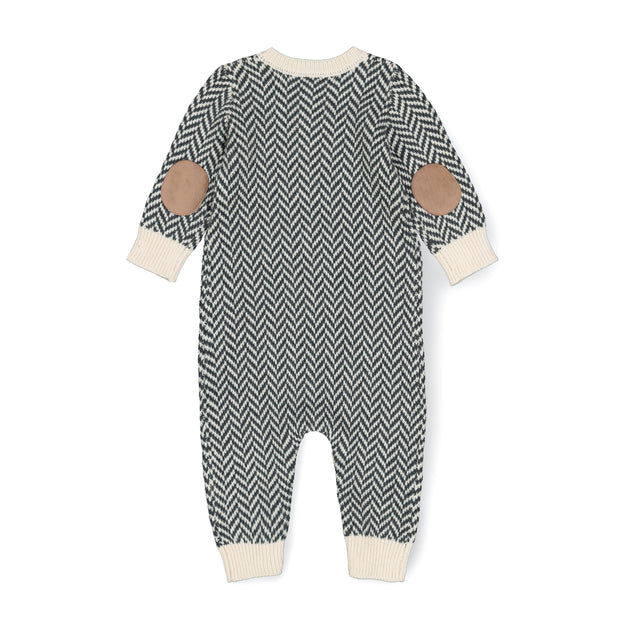 Henley Sweater Romper with Elbow Patches - Hope & Henry Baby