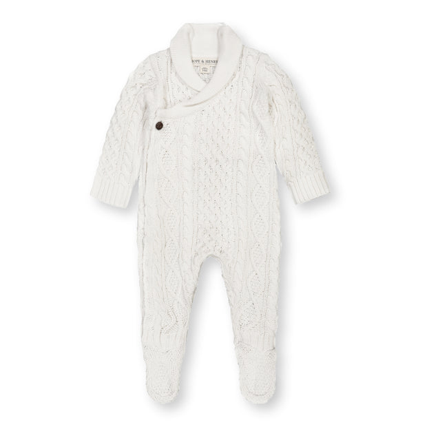 Shawl Collar Footed Sweater Romper - Hope & Henry Baby