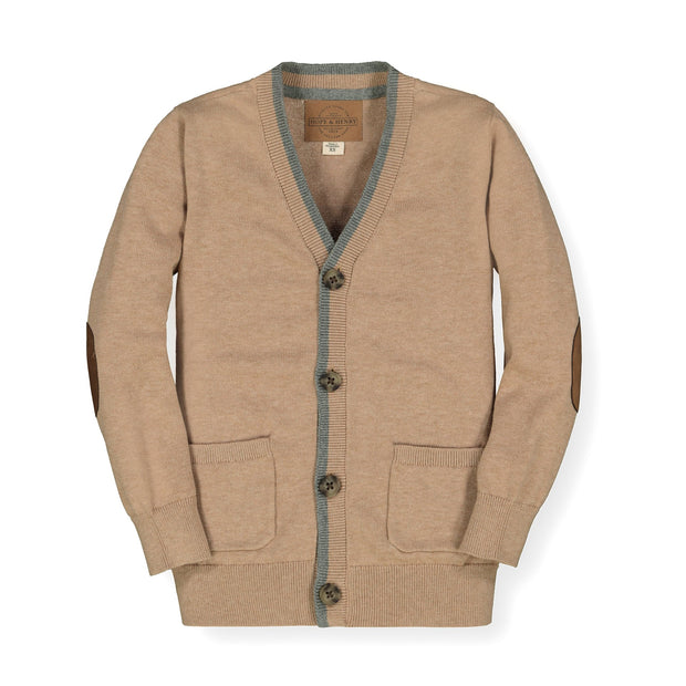 Tipped Cardigan with Elbow Patches