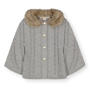 Cable Sweater Cape with Faux Fur - Hope & Henry Girl