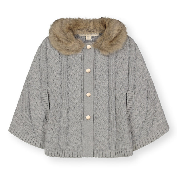 Cable Sweater Cape with Faux Fur