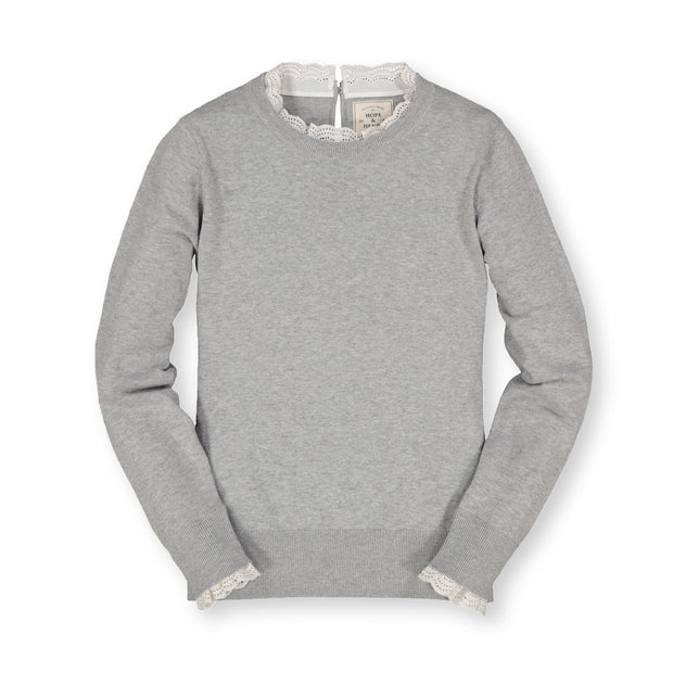 Lace Trim French Sweater - Hope & Henry Women