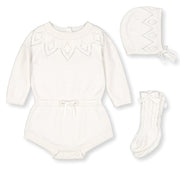 Pointelle Sweater Romper, Bonnet, and Socks Set