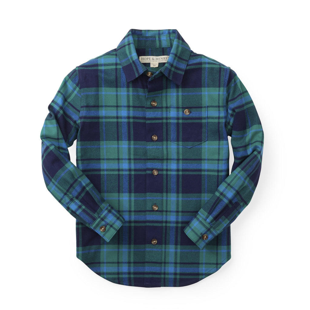 Hope /& Henry Boys Long Sleeve Brushed Cotton Flannel Button Down Shirt