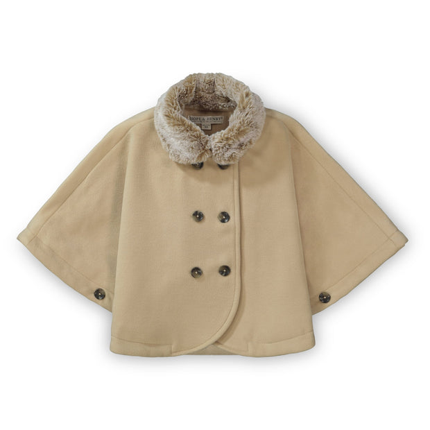 Button Front Cape with Faux Fur - Hope & Henry Girl