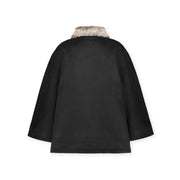 Button Front Cape with Faux Fur - Hope & Henry Women