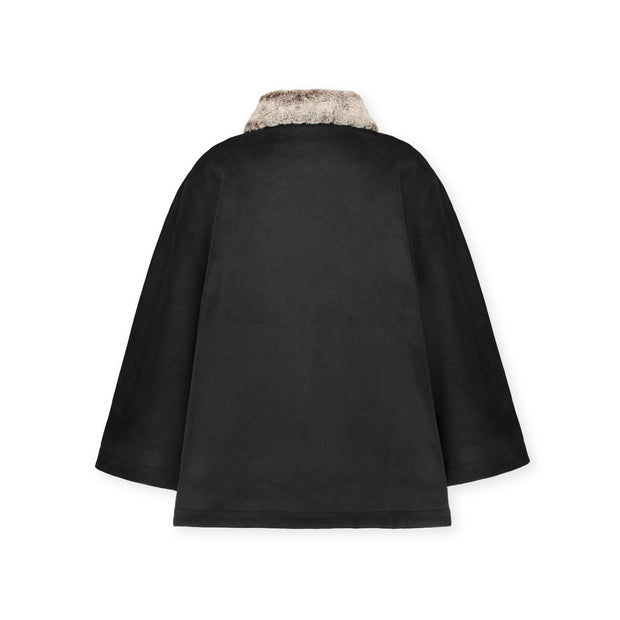 Button Front Cape with Faux Fur - Hope & Henry
