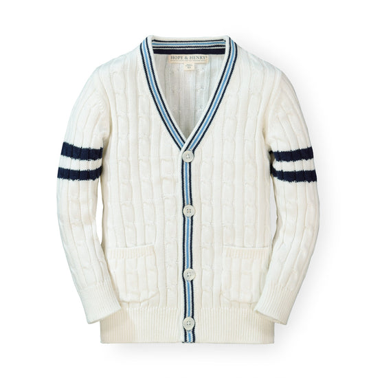 Cable Cardigan Sweater with Stripes - Hope & Henry