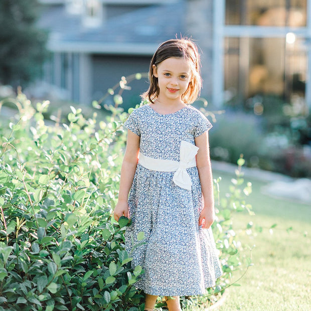 Cap Sleeve Party Dress with Bow Sash - Hope & Henry Girl