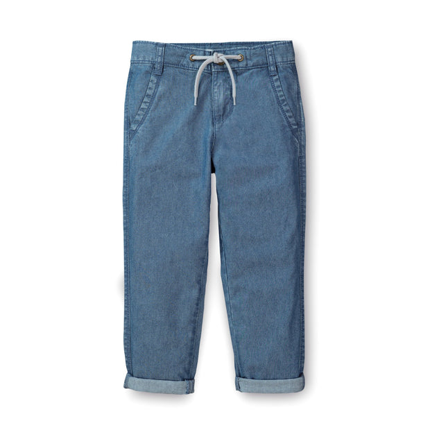 Chambray Rolled Cuff Pant With Drawstring - Hope & Henry Boy