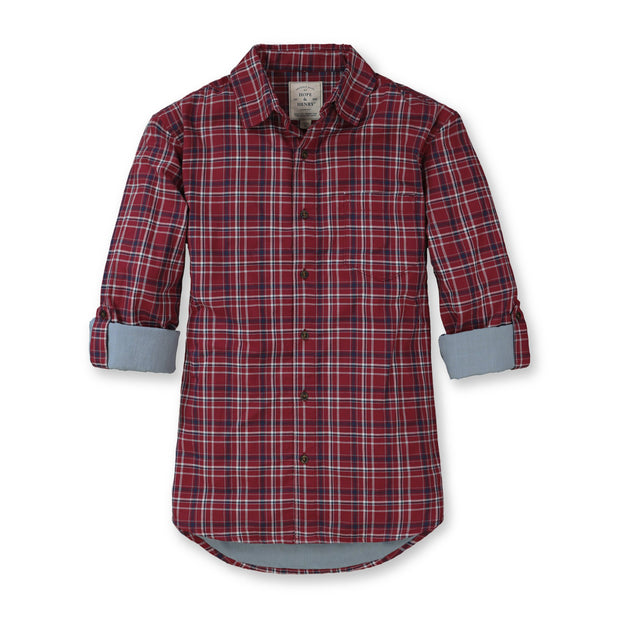 Convertible Double Weave Button Down Shirt - Hope & Henry Men