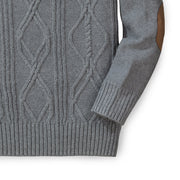 Crewneck Cable Sweater with Elbow Patches - Hope & Henry Boy