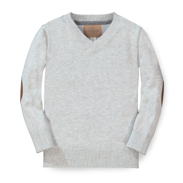 Fine Gauge V-Neck Sweater with Elbow Patches - Hope & Henry