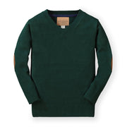 Fine Gauge V-Neck Sweater with Elbow Patches - Hope & Henry Boy