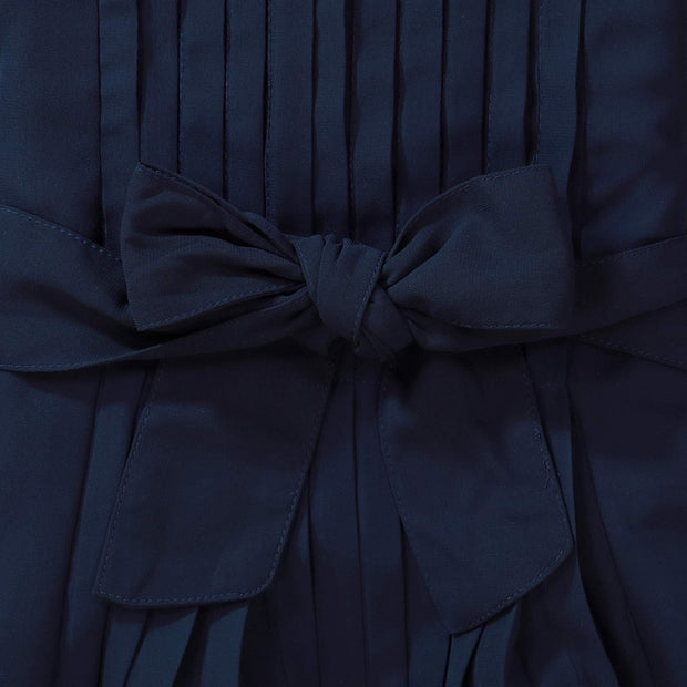 Flutter Sleeve Pleated Dress with Bow Sash - Hope & Henry Girl