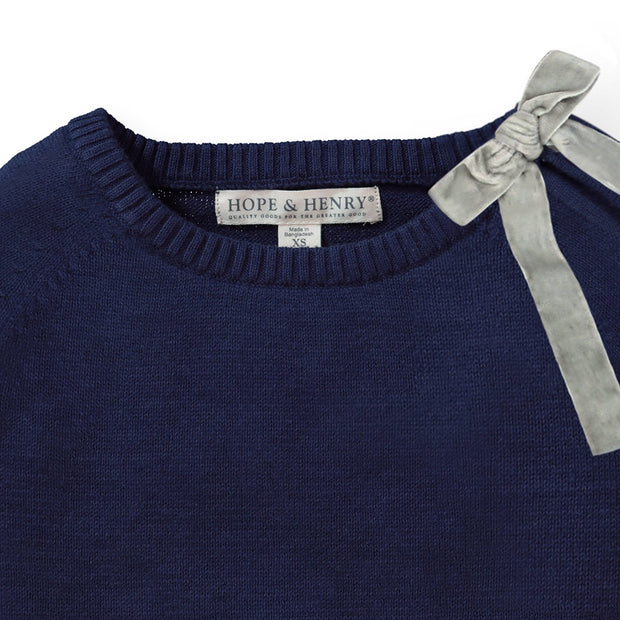 French Sweater with Velvet Bow - Hope & Henry Girl