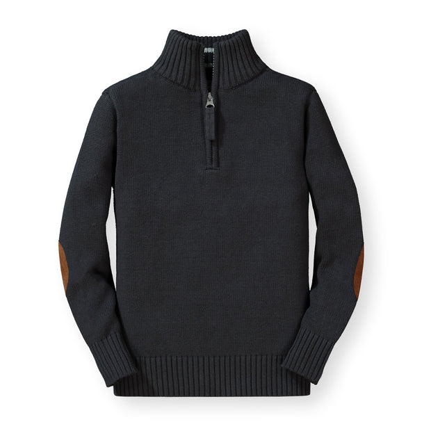 Half Zip Pullover Sweater with Elbow Patches - Hope & Henry