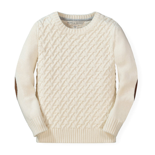 Herringbone Cable Sweater with Elbow Patches - Hope & Henry Boy