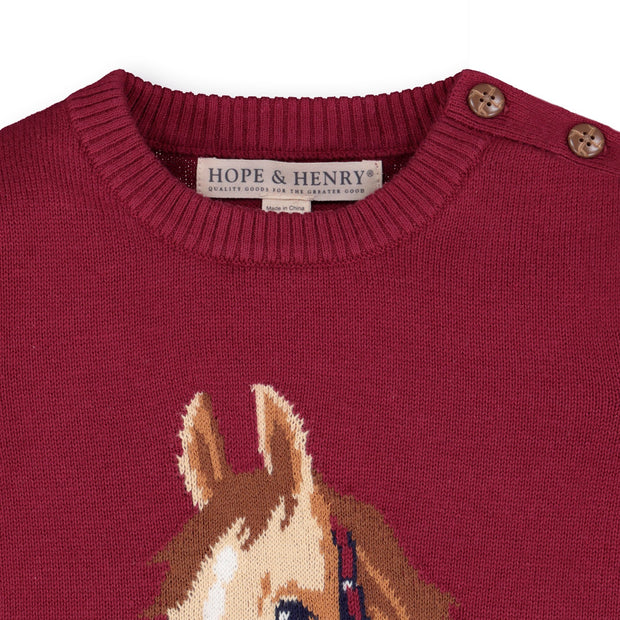Horse Intarsia Pullover Sweater - Hope & Henry Girl