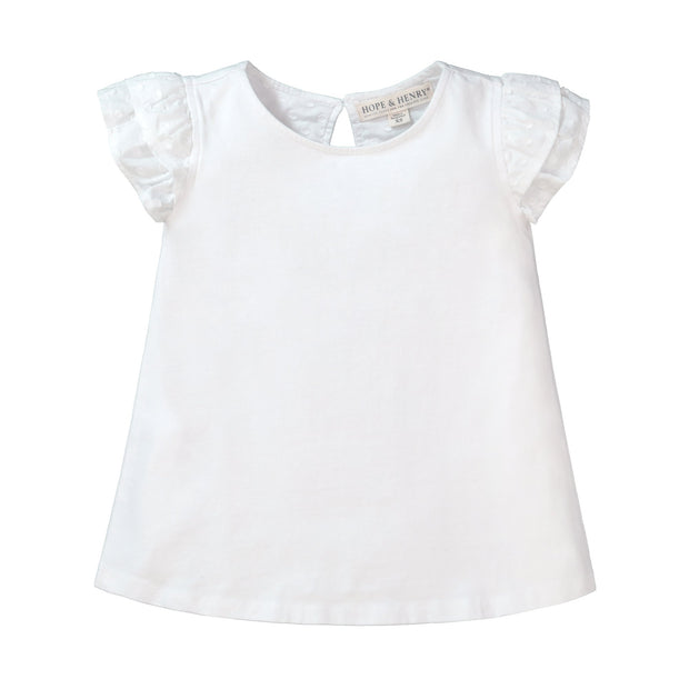 Knit Top with Woven Flutter Sleeves - Hope & Henry