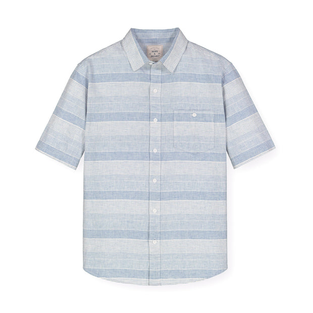 Linen Short Sleeve Button Down Shirt - Hope & Henry Men