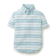 Linen Short Sleeve Button Down Shirt - Hope & Henry Boy