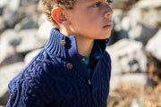 Mock Neck Cable Sweater with Buttons - Hope & Henry