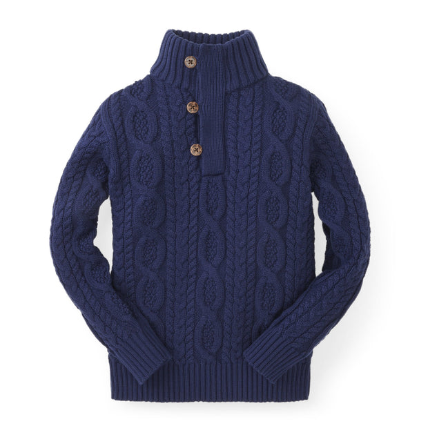 Mock Neck Cable Sweater with Buttons - Hope & Henry Boy