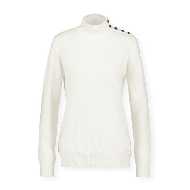 Mock Neck Sweater with Button Detail - Hope & Henry