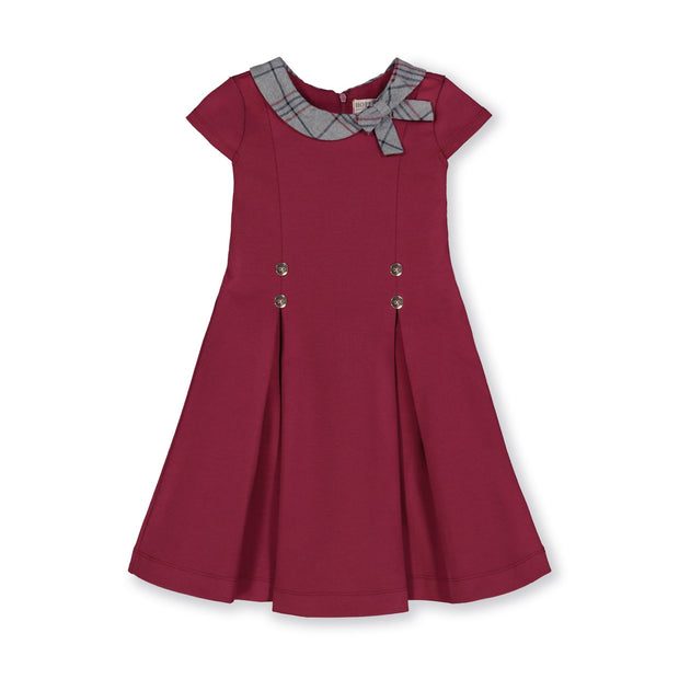 Pleated Ponte Dress with Woven Collar and Bow-Dresses-Hope & Henry